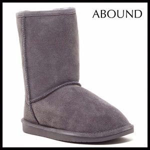GREY BOOTIES SUEDE SHEARLING LINED SHORT BOOTS
